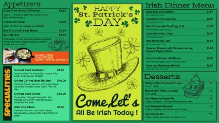 Green St. Patrick's Day Menu Design