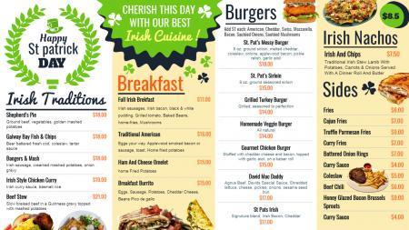 St. Patrick's Day signage menu