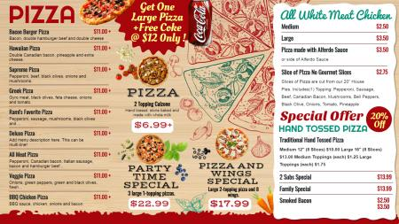 Offer Pizza Menu