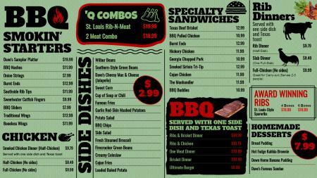 Vintage BBQ Menu