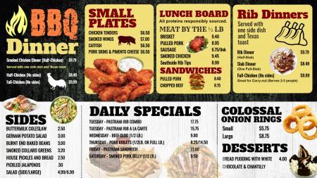 BBQ Dinner menu