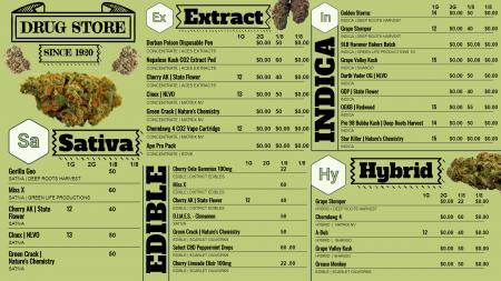 Marijuana signage menu