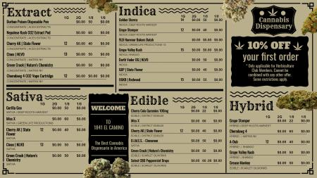 Marijuana menu