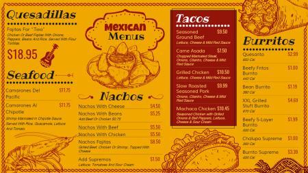 Mexican signage menu