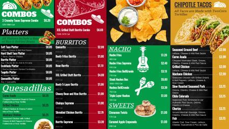 Mexican combo menu