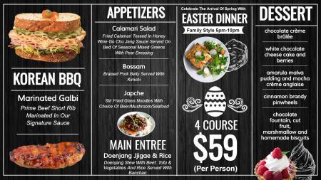 Easter signage menu