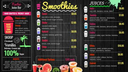 Juice chalkboard menu