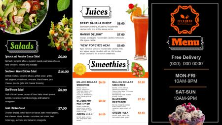 Juice signage menu