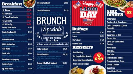 Labor day digital menu