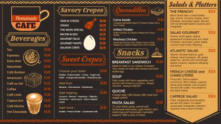 Cafe signage menu
