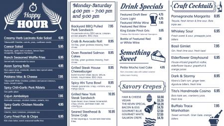Happy Hour Signage Menu