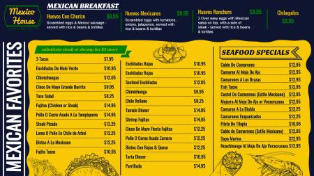 Mexican Breakfast Menu