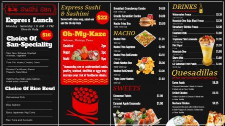 Sushi menu