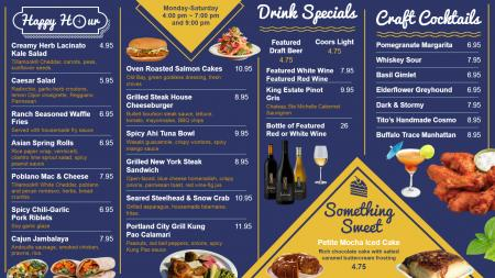 Blue Happy Hour menu