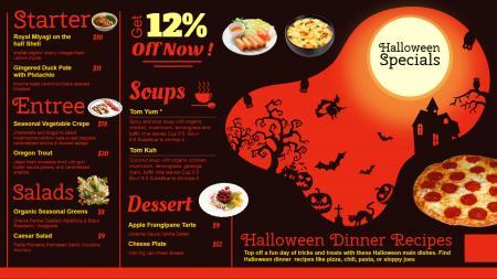 Halloween signage menu