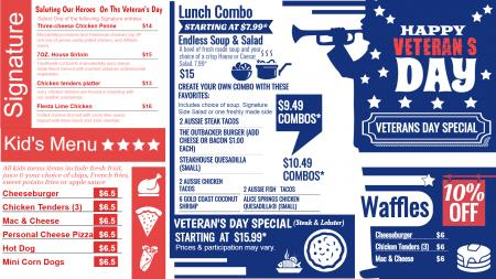Veterans Day Signage Menu
