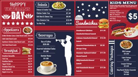 Red Veterans Day menu