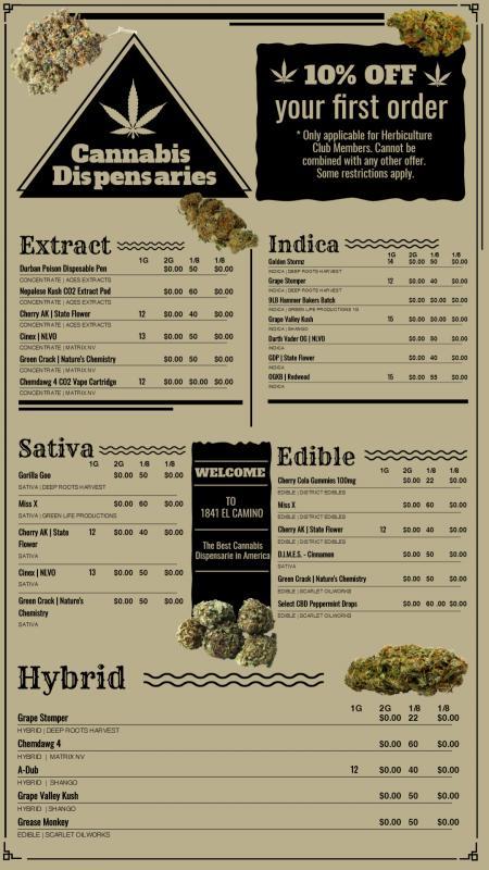 Canabis menu