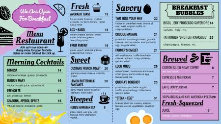 Breakfast signage menu