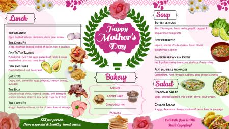 Mother's day signage menu