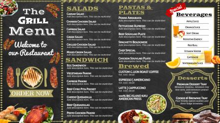 Grill signage menu