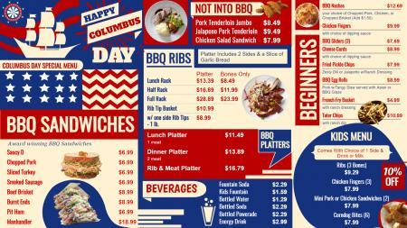 Columbus day menu