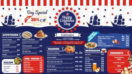Columbus day menu design
